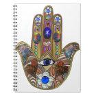 Judaica Hamsa Hearts Flowers Opal Art Print Notebook