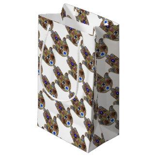 Judaica Hamsa Hearts Flowers Opal Art Print Small Gift Bag