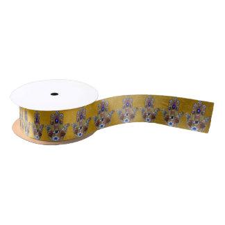 Judaica Hamsa Hearts Flowers Opal Print on Gold Satin Ribbon