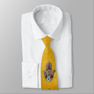 Judaica Hamsa Hearts Flowers Opal Print on Gold Tie
