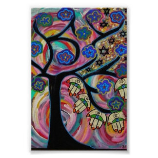 Judaica Hamsa Tree Of Life Sunset Poster