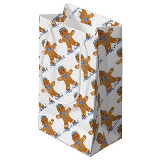 Judaica Hanukkah Gingerbread Man Menorah Small Gift Bag