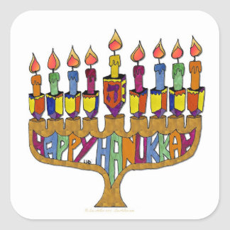 Judaica Happy Hanukkah Dreidel Menorah Square Sticker