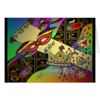 Judaica Happy Purim Jewish Holiday Gifts Apparel Card