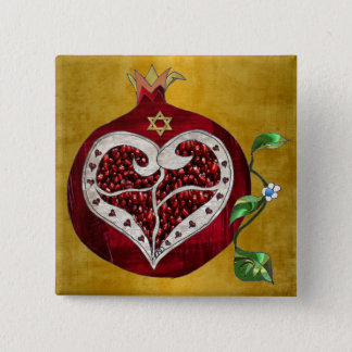 Judaica Pomegranate Heart Hanukkah Rosh Hashanah 15 Cm Square Badge