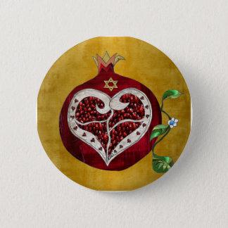Judaica Pomegranate Heart Hanukkah Rosh Hashanah 6 Cm Round Badge