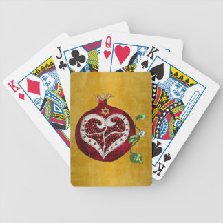 Judaica Pomegranate Heart Hanukkah Rosh Hashanah Bicycle Playing Cards