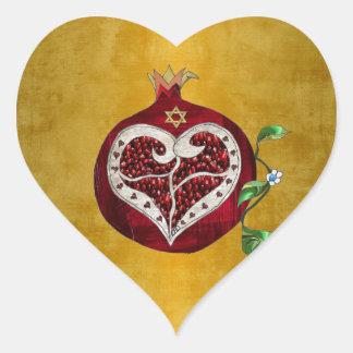 Judaica Pomegranate Heart Hanukkah Rosh Hashanah Heart Sticker