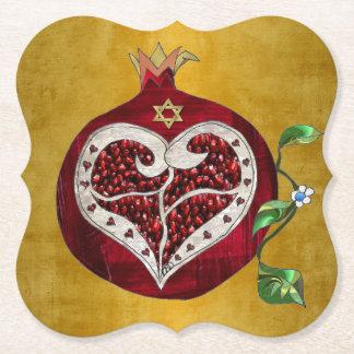 Judaica Pomegranate Heart Hanukkah Rosh Hashanah Paper Coaster