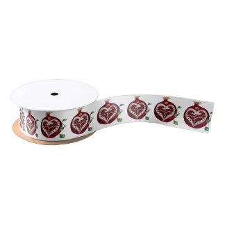 Judaica Pomegranate Heart Hanukkah Rosh Hashanah Satin Ribbon