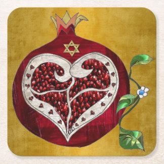 Judaica Pomegranate Heart Hanukkah Rosh Hashanah Square Paper Coaster