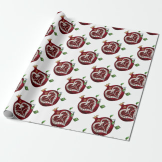 Judaica Pomegranate Heart Hanukkah Rosh Hashanah Wrapping Paper