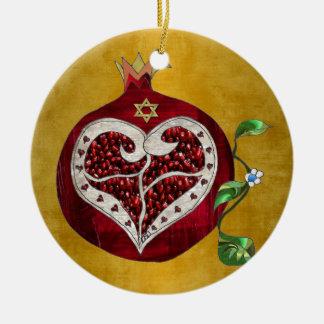 judaica,pomegranate,pomegranate+heart,hanukkah,lee ceramic ornament