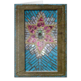 Judaica: Stained Glass Mosaic Hearts Star of David Greeting Card