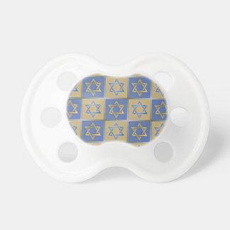 Judaica Star Of David Metal Gold Blue Pacifiers