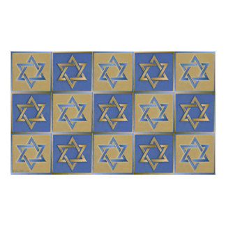 Judaica Star Of David Metal Gold Blue Poster