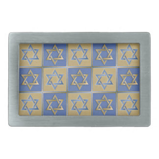 Judaica Star Of David Metal Gold Blue Rectangular Belt Buckles