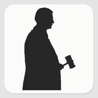 Judge With Gavel Silhouette Square Sticker
