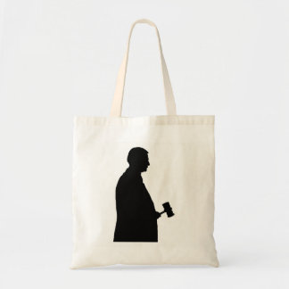 Judge With Gavel Silhouette Tote Bag