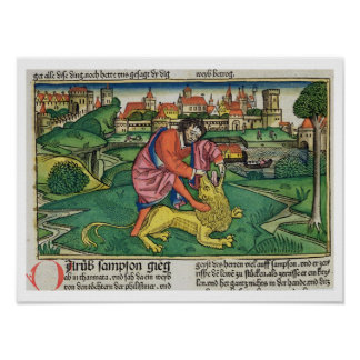 Judges 14 5-9 Samson slays the lion from the Nur Print