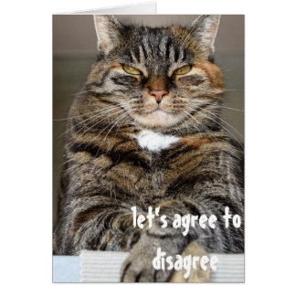 Judgmental Angry Cat Funny Agree to Disagree Card