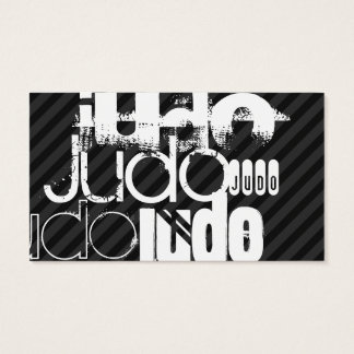 Judo; Black & Dark Gray Stripes Business Card