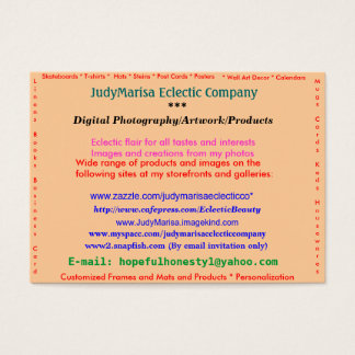 JudyMarisa Eclectic Company, Digital Photograph... Business Card