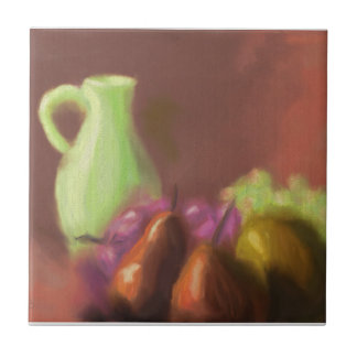 Jug with Fruit Small Square Tile