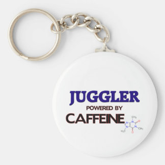 Juggler Powered by caffeine Basic Round Button Key Ring