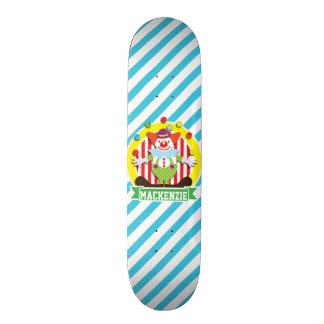 Juggling Big Top Circus Clown; Blue Stripes Skate Board Decks