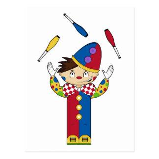 Juggling Circus Clown Postcard