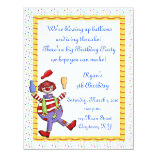 Juggling Clown Birthday Invitation