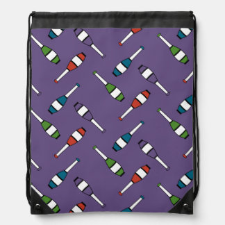 Juggling Club Toss Purple Bag Drawstring Backpack