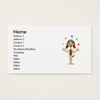 Juggling Dog Cartoon. Business Card