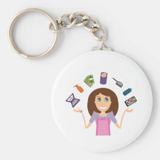Juggling Mom (Brunette) Basic Round Button Key Ring