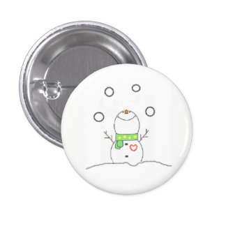 Juggling Snowman 3 Cm Round Badge