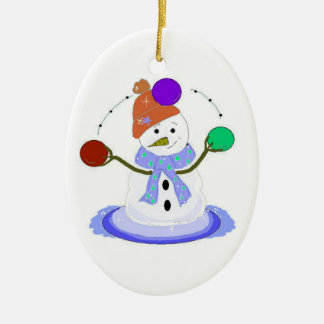 Juggling Snowman Ceramic Ornament