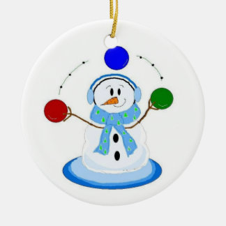 Juggling Snowman Ceramic Ornament