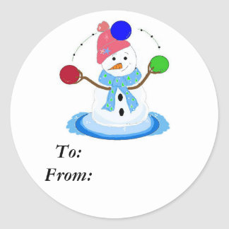 Juggling Snowman Classic Round Sticker