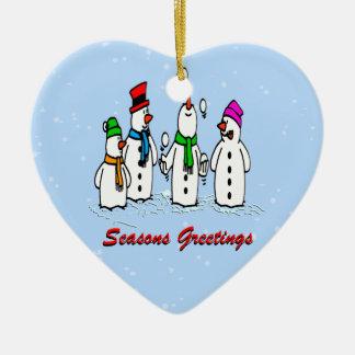 Juggling Snowmen Christmas Ornament Heart Ceramic Heart Ornament