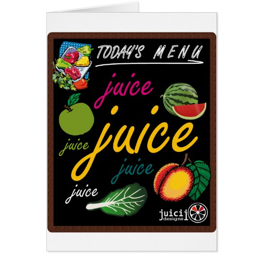Juice menu card