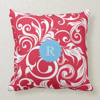 Juicy Apple Red Wallpaper Swirl Blue Monogram Cushion