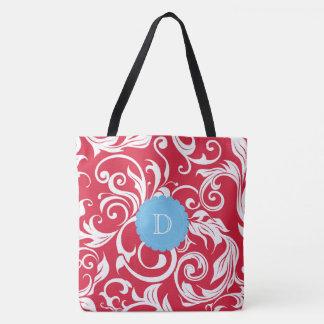 Juicy Apple Red Wallpaper Swirl Blue Monogram Tote Bag