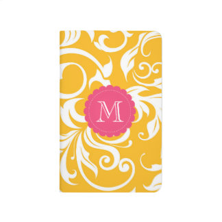 Juicy Citrus Orange Pink Floral Swirl Monogram Journal