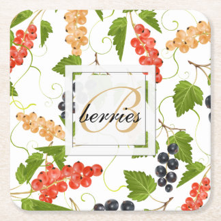 Juicy Currants Monogram Square Paper Coaster
