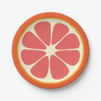 Juicy Grapefruit Summer Citrus Fruit Slice Kitchen Paper Plate