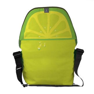Juicy Lime Slice Twist Messenger Bags