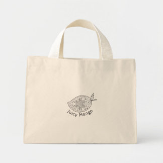 Juicy Mango Black and White Mandala Mini Tote Bag