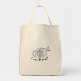 Juicy Mango Black and White Mandala Tote Bag