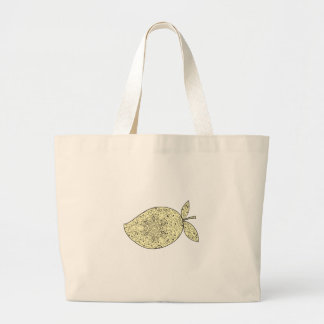 Juicy Mango Fruit Mandala Large Tote Bag